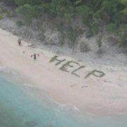 Vyrai iš negyvenamos salos išgelbėti pastebėjus jų milžinišką pagalbos užrašą