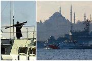 Turkiją papiktino Rusijos karinio laivo įgula: mojavo ginklais Stambulo teritorijoje