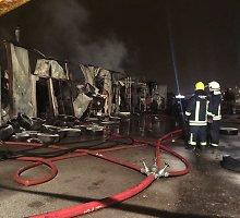 Didelis gaisras Vilniaus pakraštyje: Molėtų plente pleškėjo autoservisas