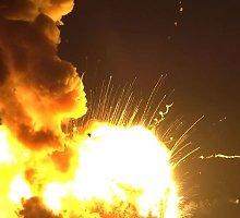 """Žvilgsnis į raketos nešėjos """"Antares"""" sprogimą iš labai arti"""