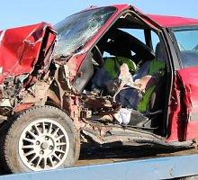 """Miškovežio ir """"Audi 80"""" avarija Tauragės rajone"""