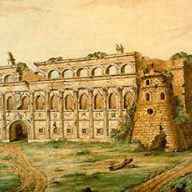 Apgriuvę Radvilų rūmai Vilniuje XVIII amžiuje