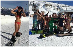 Lietuvių avantiūra Prancūzijos Alpėse: slidinėjimo trasas šturmavo išsirengę iki bikinių ir trumpikių