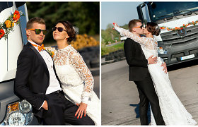 Išskirtinės vestuvės Vilniuje: Aušra ir Šarūnas į santuokų rūmus atvyko vilkiku