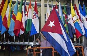 Kubos vėliava iškelta JAV Valstybės departamente