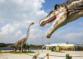 Pirmojo Baltijos šalyse dinozaurų parko ant stogo atidarymas
