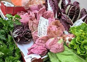 Romos daržovių turgus ir vasarį kvepia šviežiomis daržovėmis ir vaisiais