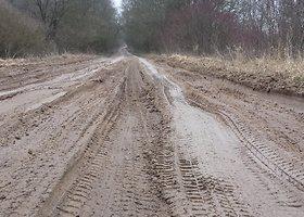 Sunkiai pravažiuojamas kelias Kauno rajono Bernatonių kaime