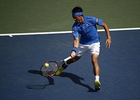 """""""US Open"""" čempionato starte Kei Nishikoris nugalėjo Benjaminą Beckerį"""