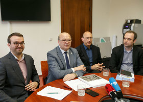 Kauno mero kabinete surengta spaudos konferencija dėl mokslo centro statybų