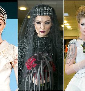 Vestuvių parodoje pristatyti 3 itin drąsūs nuotakos įvaizdžiai: kelnių kostiumas, antpečiai, juoda spalva