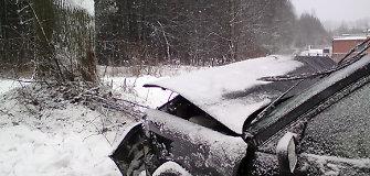 """Per Kuokšius lėkęs """"Audi"""" vairuotojas į pakelės medžius susilaužė stuburo ataugas"""