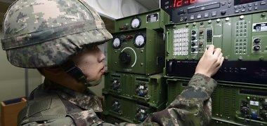 Pietų Korėja atnaujino propagandos transliacijas prie sienos su Šiaurės Korėja