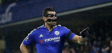 """Lūžusia nosimi žaidęs Diego Costa padėjo """"Chelsea"""" ekipai sutriuškinti varžovus"""