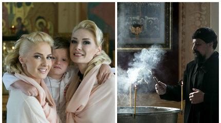 Natalija Bunkė ir Danielius Bunkus Klaipėdos cerkvėje pakrikštijo sūnų Kristupą