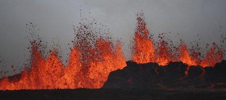 Islandijoje Baurdarbungos ugnikalnis lieja lavą