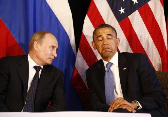 """""""Reuters""""/""""Scanpix"""" nuotr./Vladimiras Putinas ir Barackas Obama"""
