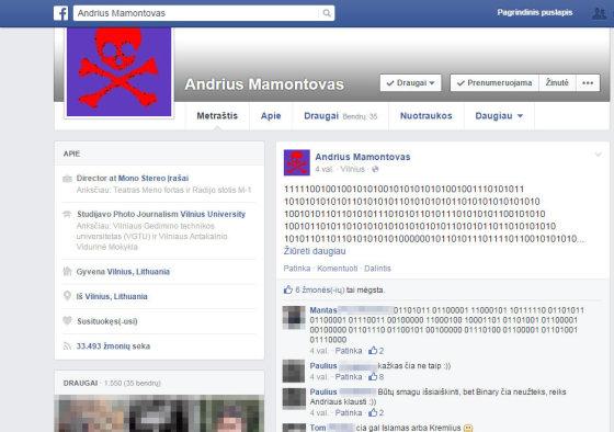 """Andriaus Mamontovo paskyra """"Facebook"""" tinkle"""