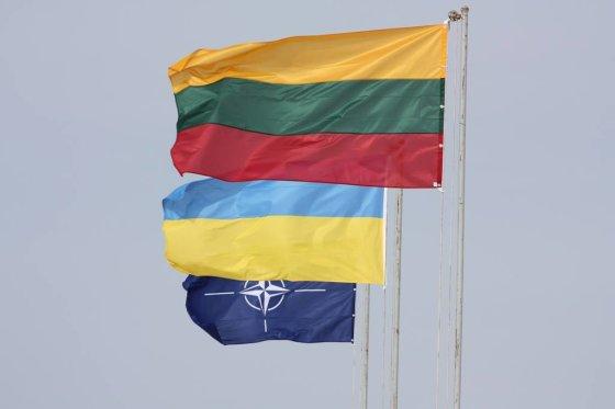 KAM nuotr./NATO, Ukrainos ir Lietuvos Vėliavos
