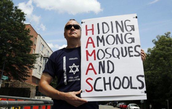"""""""Reuters""""/""""Scanpix"""" nuotr./Protestas prieš """"Hamas"""" teroristus"""
