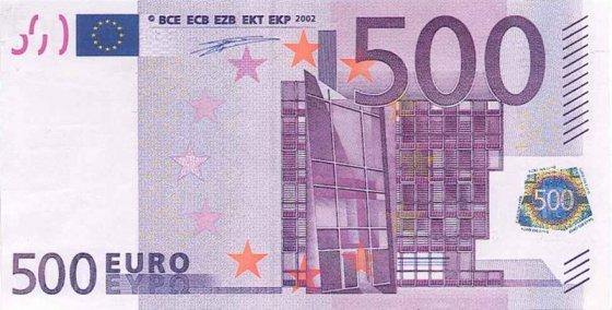 Vilniaus policijos nuotr./500 eurų banknotas