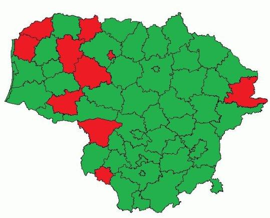 Žalia spalva pažymėtos Lietuvos savivaldybės, kur vykdyti stebėjimai 2013 m. kalėdinio maratono metu.