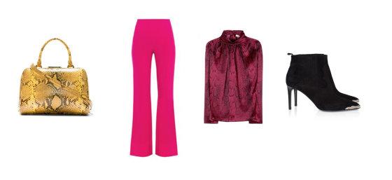 """Gamintojų nuotr./Simone Rocha rankinė, Diane Von Furstenberg kelnės, Nina Ricci palaidinė, """"Saint Laurent aukštakulniai."""