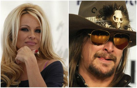 """AFP/""""Scanpix"""" nuotr./Pamela Anderson ir Kidas Rockas"""