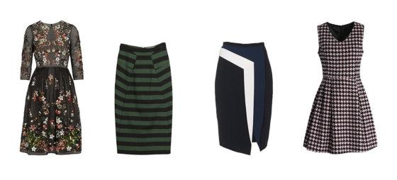 """Gamintojų nuotr./Iš kairės: """"Needle & Thread"""" suknelė, """"Burberry London"""" žalias dryžuotas sijonas, Peter Pilotto sijonas, """"Chichwish"""" suknelė."""