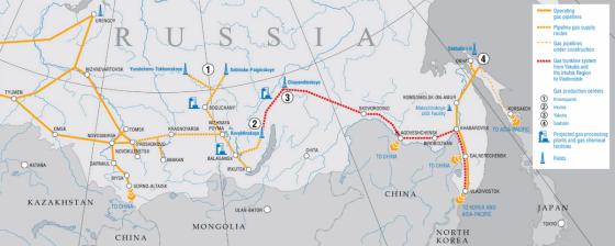 """""""Gazprom"""" žemėlapis/Planuojamas dujotiekis iš Rytų Sibiro į Kiniją"""