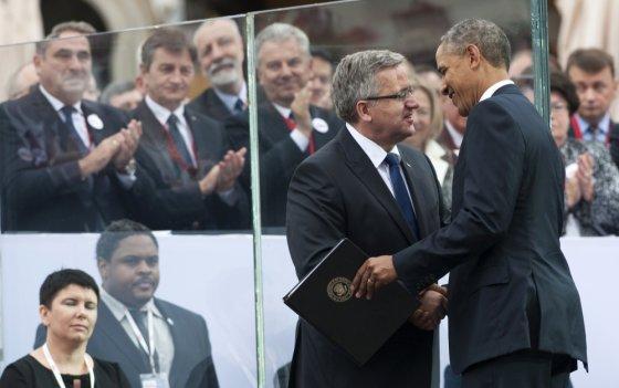 """Scanpix"" nuotr./Barackas Obama ir Bronislawas Komorowskis"