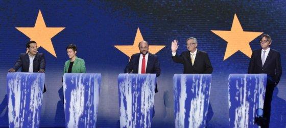 """""""Scanpix"""" nuotr./Debatų dalyviai Alexis Tsipras, Ska Keller, Martinas Schulzas, Jeanas-Claude\'as Junckeras, Guy Verhofstadtas"""