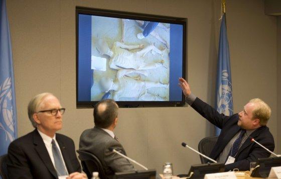 """AFP/""""Scanpix"""" nuotr./JT Saugumo Taryboje parodytos šiurpios žudynių Sirijoje nuotraukos"""