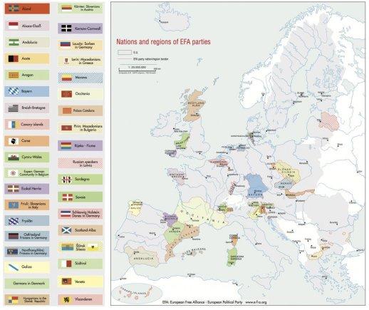 """""""European Free Alliance"""" iliustr./Europos žemėlapis, jeigu atsiskirtų visi separatistiniai judėjimai"""