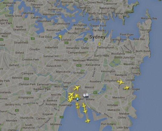 FlightRadar24 iliustr./Skrydžiai virš Sidnėjaus