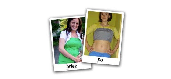 Diana Rijniece prieš ir po dietos.