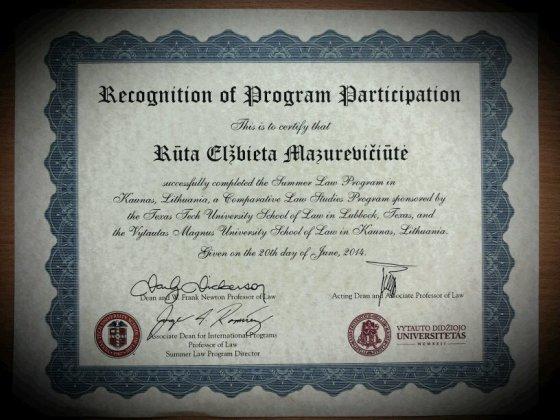 """Asmeninio albumo nuotr./""""Texas Tech University"""" sertifikatas Rūtai Mazurevičiūtei"""