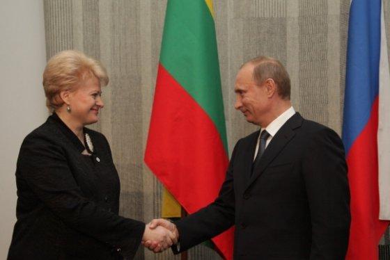 President.lt nuotr./Lithuanian President Grybauskaitė  and Russian Prime Minister Putin.