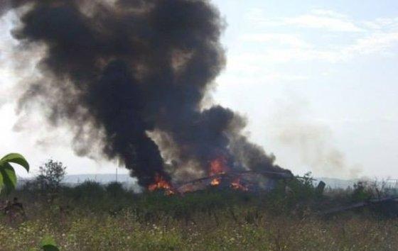 Nuotr. iš facebook.com/ravreba/Teroristų numuštas ukrainiečių sraigtasparnis sudegė