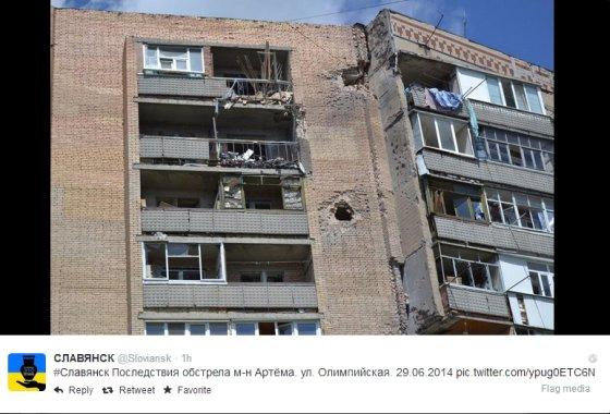"""""""Twitter"""" paskyros @Sloviansk nuotr/Slovjanskas po apšaudymo"""