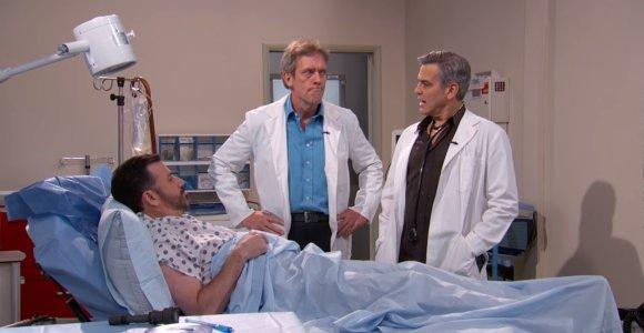 """Laidoje susitiko """"Ligoninės priimamojo"""" ir """"Daktaro Hauso"""" žvaigždės George'as Clooney ir Hugh Laurie"""