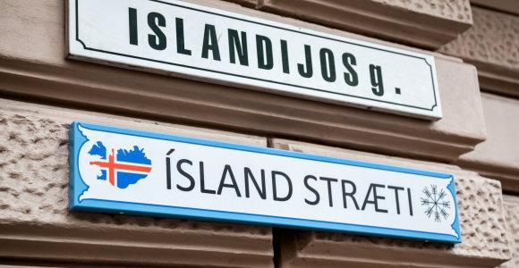 Vilniaus Islandijos gatvę papuošė užrašas islandų kalba