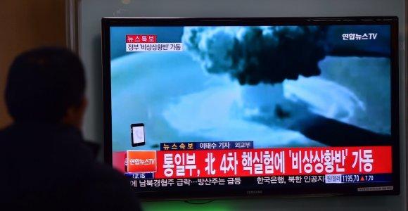 JAV ir Pietų Korėjos vadovai žada pačias griežčiausias sankcijas Pchenjanui