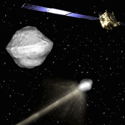"""ESA nuotr./ESA ketina sudaužyti erdvėlaivį į asteroido """"65803 Didymos"""" palydovą ir matuoti jo orbitos pokyčius."""