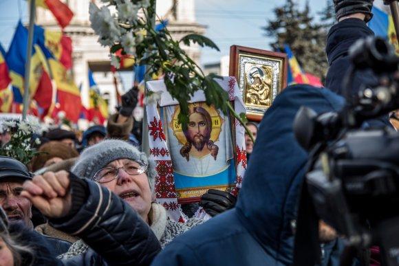 """""""Scanpix""""/""""Sputnik"""" nuotr. /Opozicijos demonstracija Moldovoje"""