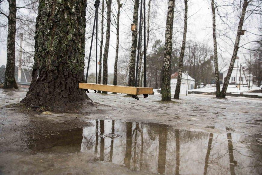 Sniegą Vilniuje keičia balos