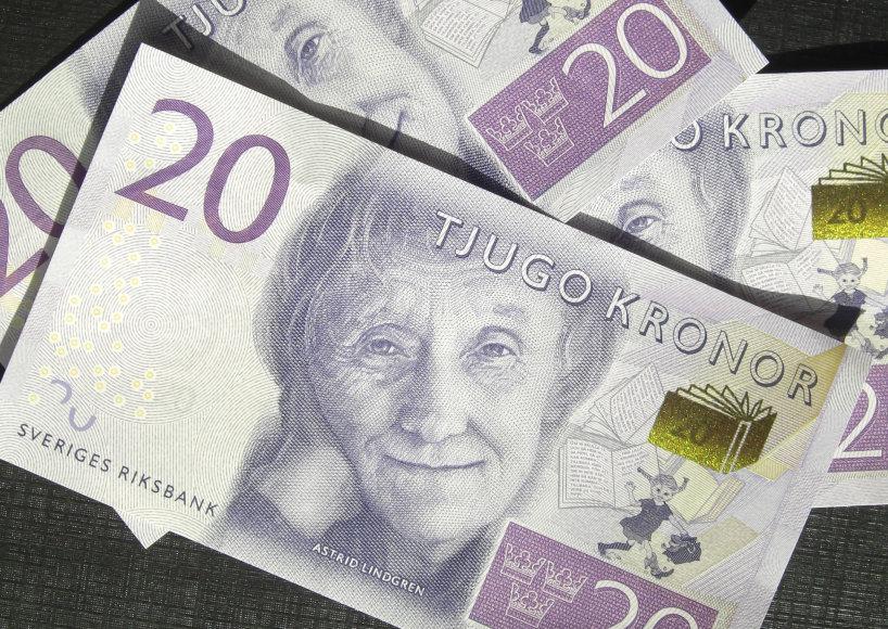 Vida Press nuotr./Dvidešimties Švedijos kronų banknotas su Lindgren atvaizdu