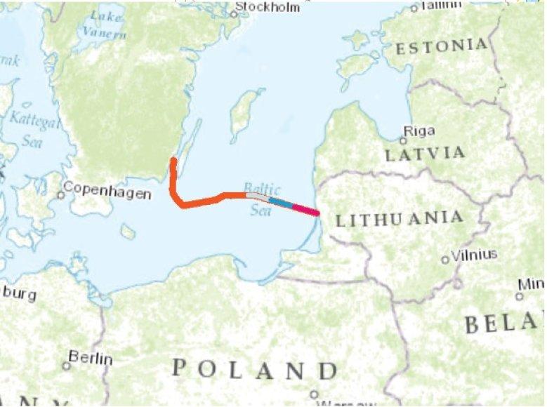 """Nutiestas pirmasis šimtas kilometrų elektros jungties """"NordBalt"""" kabelio."""